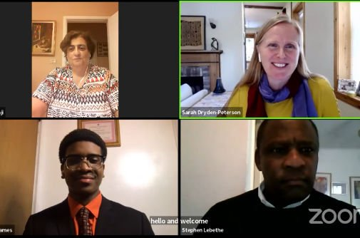 video conference with two women and two men in discussion