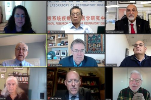 video conference with nine men and women in zoom